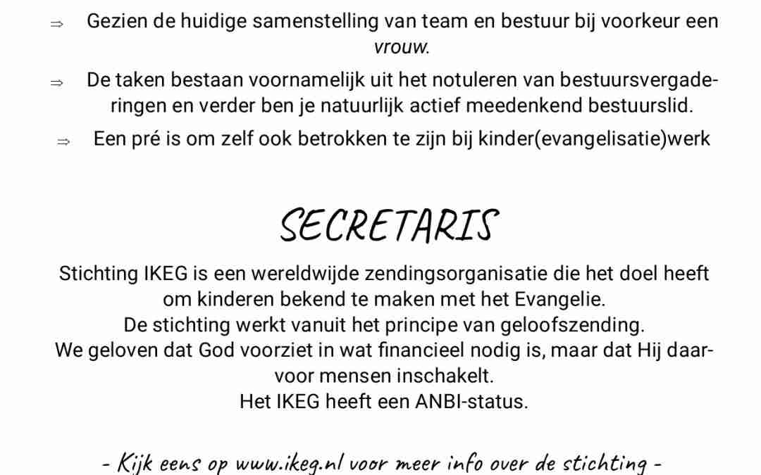 Vacature bestuur: secretaris